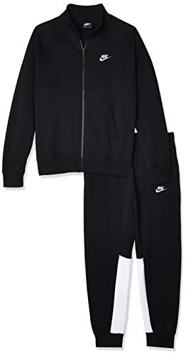 Nike Mens M NSW Ce TRK Suit FLC Tracksuit, Black/Black/White/White, L
