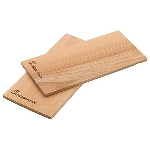 Landmann Selección de Tablas de Ahumado - Juego de 2 | Se compone de Madera de Cedro | para un Suave Aroma Ahumado en la Comida a la Parrilla | Adecuado para Carne y Pescado [29x15 cm]