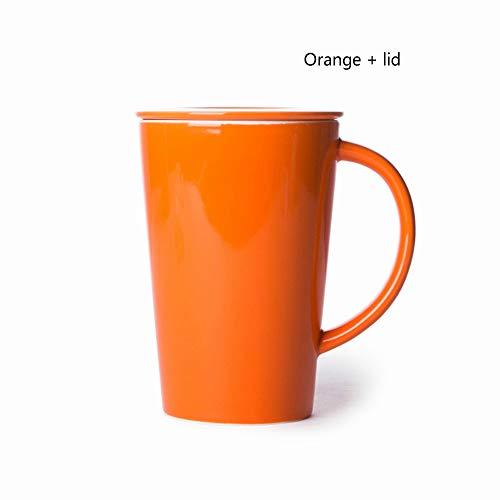 MSNLY Einfache Keramik-Wassertasse, kreative Kaffeetasse, Tasse, Bürotasse, Teetasse, Teetasse mit Deckel, Teeleck, Keramikbecher.