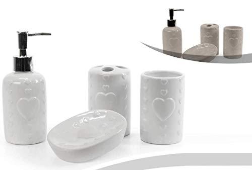 Set accessori da bagno in ceramica 4 pezzi, portaspazzolino , dispenser sapone,piattino porta sapone e bicchiere da lavandino colori assortiti bianco o tortora decoro cuore PAM-783203