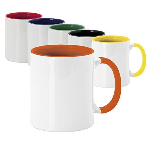 Lote 36 tazas ceramicas sublimación de 350ml de capacidad con exterior en color blanco e interior en vivos y variados colores, presentadación en cajas individuales (Mixto)