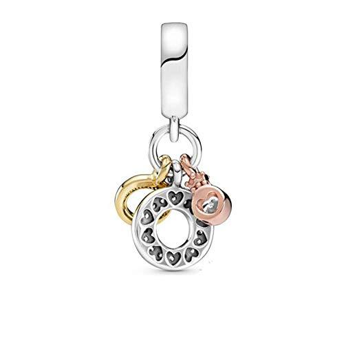 LISHOU DIY 925 Plata Esterlina Triple Monograma Logo Colgante Ajuste Original Pandora Pulseras Collar para Mujeres Encanto Cuentas Fabricación De Joyas