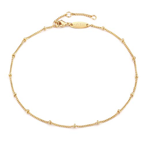 Gold Dainty Satellite Chain Spheres Anklet,14K Gold Plated Boho Cute Tiny Beaded Minimalist Simple Foot Chain Ankle Bracelet for Women