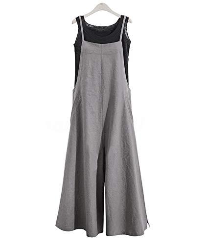 YESNO Women Casual Loose Boyfriend Bib Pants Summer Wide Leg Cotton Jumpsuits Rompers with Pockets XS-5X (L PZZTYP2 Gray)