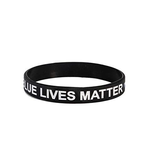 Patch Nation Blue Lives Matter Blue Line - Pulseras de silicona para policía