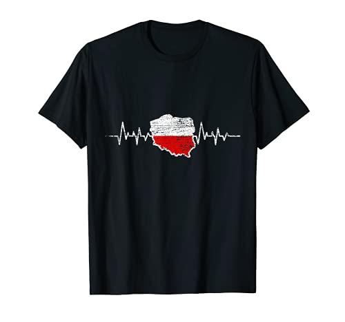 Herzschlag Polnische Flagge Geschenk Polen T-Shirt