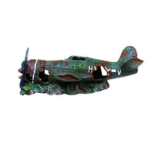 Balacoo Resina Tanque de Peces Ornamento Avión de Combate Decoración del Acuario Cueva Escondite Hábitat Militar Naufragio Rayo Militar para Acuario Tanque de Peces S