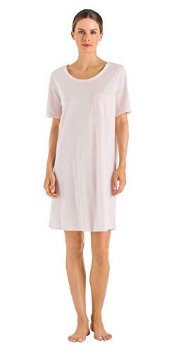 Hanro Damen Cotton Deluxe 1/2 Arm 90 cm Nachthemd, Rosa (Crystal Pink 071334), 48 (Herstellergröße: L)
