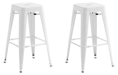 La Chaise Espagnole - Lot de 2 Tabourets de style Tolix, Blanc, 76x43x43