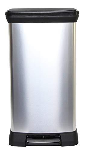 Curver Metal Effect Plastic Pedal Touch Deco Bin, Silver,50 Litre