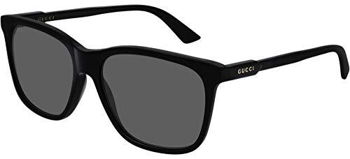 Gucci Unisex – Erwachsene GG0495S-001-57 Sonnenbrille, Schwarz Glänzend, 57