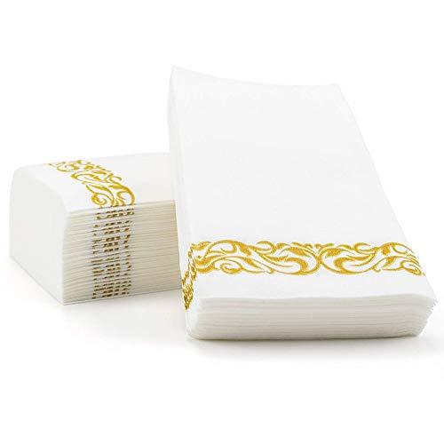 XIGUI Handdoeken met linnen-gevoel, decoratieve handservetten, met bloemenpapier, gastendoekjes, 100 stuks