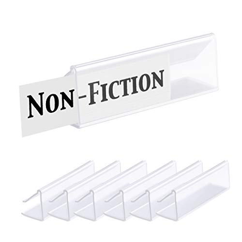 """Pack of 25 – Clear Plastic Shelf Label Holder, Wood Shelf Sign and Ticket Holder, Clips On to Shelves 5/8"""" to 3/4"""" Thick - Length of Label Area, 3"""" X Height of Label Area, 7/8"""""""