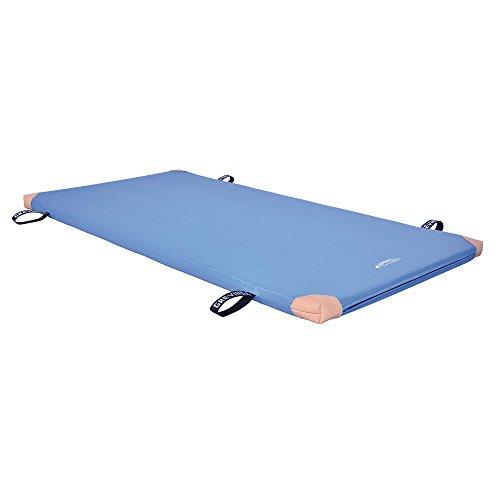 Grevinga® Fun-Turnmatte SUPER Soft (RG 22 - sehr weich) (BLAU 200 x 100 x 6 cm) mit Lederecken UND Trageschlaufen