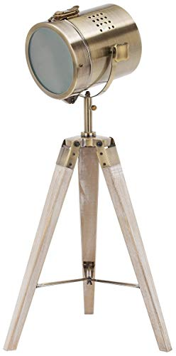 BRUBAKER Lámpara de pie - diseño Industrial - altura 65 cm - patas de trípode de madera - faro de latón