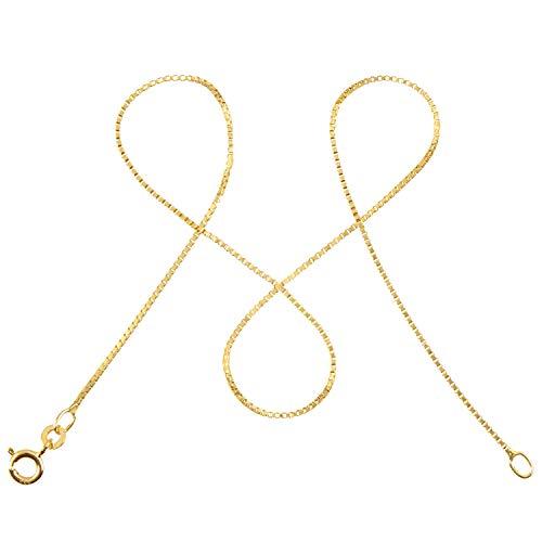 modabilé Damen Venezianerkette aus 333er Gold (42cm I 0,9mm breit) I Goldkette 333 ohne Anhänger I Zarte Halskette für Frauen I Echtgold Kette + Etui I Goldkettchen Produziert in Deutschland