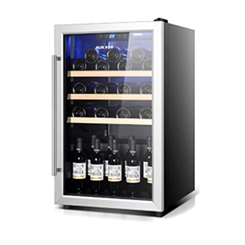28 Pantallas Gabinete de Vino de Acero Inoxidable Incorporado, compresor de Doble Zona de Gran Capacidad de Vino Independiente, Pantalla LED (Color : Black, Size : 50 * 58 * 85cm)