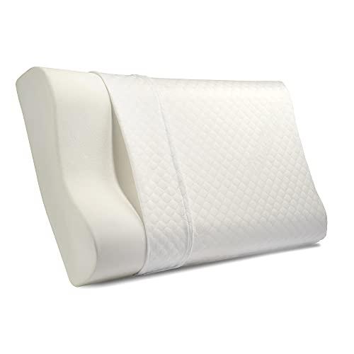 A&K Cuscino Cervicale per Dormire 100% MADE IN ITALY ,Guanciale Cervicale Federa Morbida e Rimovibile,Cuscino Ortopedico Altezza Regolabile 67x40x11cm,Cuscino Memory Foam