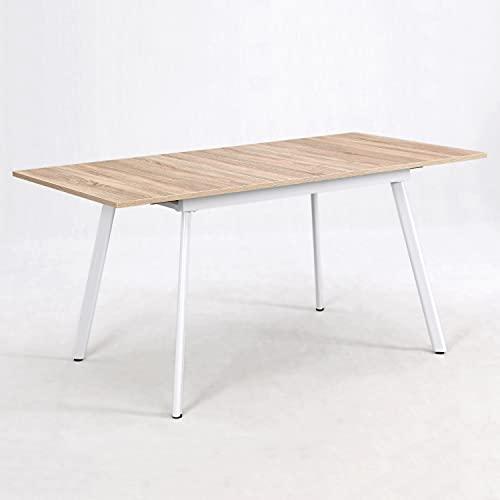 B&D home - Esstisch ausziehbar 120-160x80 cm | Holztisch in Sonoma Eiche | Metallgestell weiß