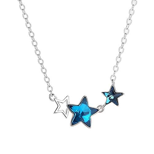 Collar de mujer con estrella azul de plata de ley para mujeres y niñas