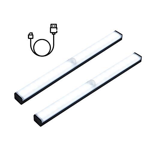 Jsdoin - Juego de 2 luces LED de 21 cm para debajo del armario, luz de tira recargable por USB, luces de sensor de movimiento, luz nocturna, cocina, escaleras, armario, armario, blanco puro