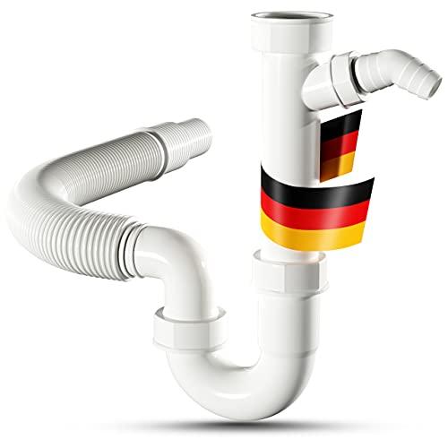 LOBENSWERK Siphon für Küchenspüle mit flexiblem Ablaufschlauch - 100% Wasserdicht - Röhrensiphon mit einem Geräteanschluss + Anschlussdichtungen