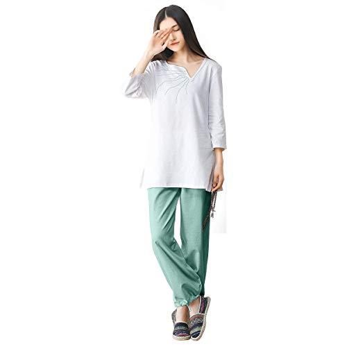 KSUA Uniforme per la Meditazione delle Zen delle Donne Tai Chi Suit Abbigliamento da Yoga in Cotone Kung Fu, Verde EU S/Etichetta M