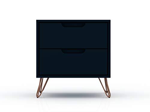 "Manhattan Comfort Rockefeller Mid-Century Modern 2 Drawer Bedroom Nightstand, 20.08"", Midnight Blue"