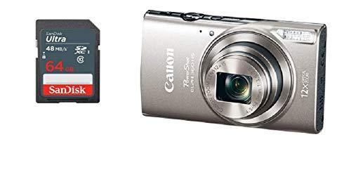 Canon PowerShot ELPH 360 HS Digital Camera Balck + 64GB SD Memory Card (Silver)