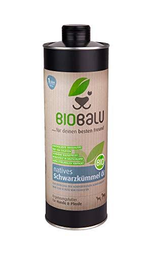Biobalu Bio Schwarzkümmelöl 1000 ml | Schwarzkümmelöl für Hunde & Pferde | Ergänzungsfutter zur Steigerung der Abwehrkräfte | Barf Öl & Schutz vor Parasiten
