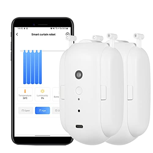 Voupuoda WiFi Automatic Curtain Opener Closer Robot Wireless Smart Curtain Motor Timer Voice Control Smart Home Automation Device for Curtain Track Rod Replacement for Amazon Assistant
