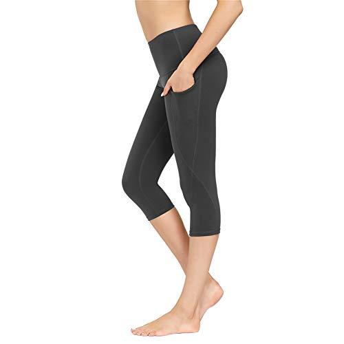 IceUnicorn Damen Sport Leggins Hohe Taille Tights 3/4 Yogahose Blickdichte Kurz Laufhos Fitness Hosen Jogginghose mit Taschen Short(3/4 D/Grau, XL)