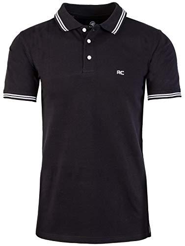Rock Creek Herren Polo T-Shirts Basic Shirt Kurzarm Poloshirt Polohemd Slim Fit Sommer Shirts Männer T Shirt Top Polokragen H-177 Schwarz XL