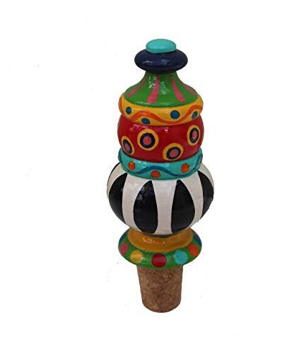 Maharanis Handbemalter Flaschenkorken Weinkorken Flaschenstopfen Weinflaschenverschluss bunt mit Naturkork