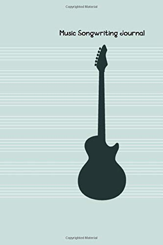 """Music Songwriting Journal: Blank Guitar Tabs paper, Standard Staff & Tablature Featuring Twelve 6-Line Tablature Staves Per Page With a """"TAB"""" Clef with Guitar Silhouette Theme"""