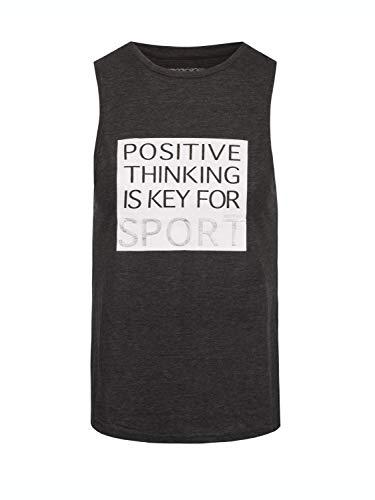 BODYCROSS Débardeur Col Rond Femme Lysie Gris Chiné Training, Lifestyle - Polyester/Viscose - Coupe Près du Corps, Phrase de Motivation sur Le Ventre