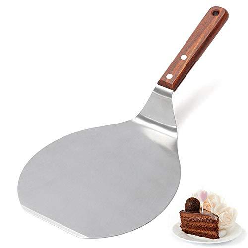 lijunjp Edelstahl-Pizzaspatel, Profi-Wok-Spatelwender mit hitzebeständigem Holzgriff, 304 Edelstahl-Wok-Spatel, für Barbecue, Steak, Pizza