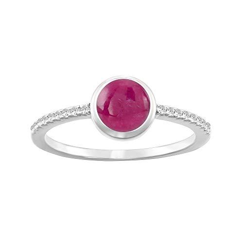 Anillo de color piedra natal de octubre rosa rubí, diamantes de imitación (CZ), fina calidad de plata de ley. Disponible en tamaño 6/7/8 SIMPLÍ BASIC caja de regalo de lujo (tamaño 7)