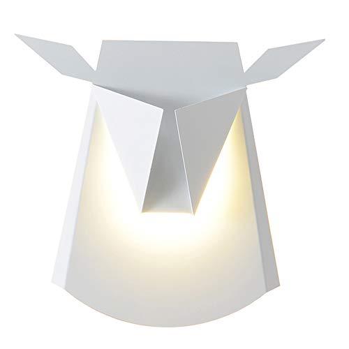 Creative LED Deer Head Fer Applique Nordique Chambre Chevet Décoratif Mur Lumière 36 cm * 39 cm ( Couleur : Blanc )