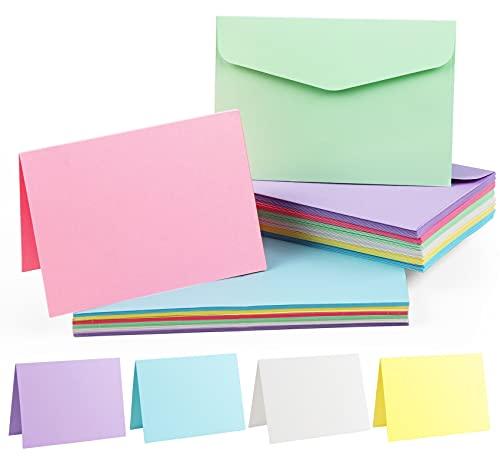Mocraft 60 Mehrfarbig Briefumschläge Kraftpapier Karten Faltkarten Recycling-Doppelkarten Einladungskarten,DIN B6