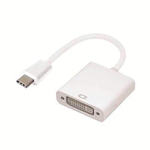 KoelrMsd Convertidor Adaptador USB C a DVI con Carga PD 1080p USB Blanco Tipo C a DVI USB 3.1 Thunderbolt 3