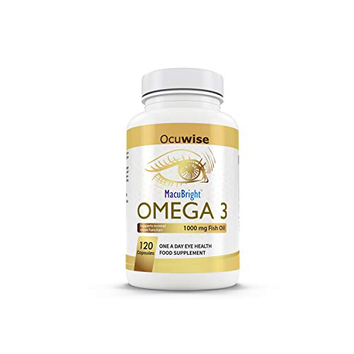 MacuBright Omega 3 - 120 Capsules, 1000mg high Strength, Omega 3 Fish Oil with Vitamin E & Vitamin D.