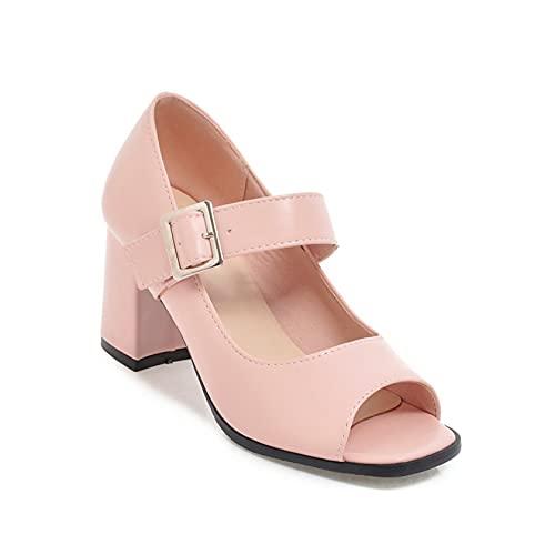 Sandalias de verano para mujer cuñas ajustable hebilla correa moda punta abierta antideslizante zapatos de tacón medio, Pink, 38 EU