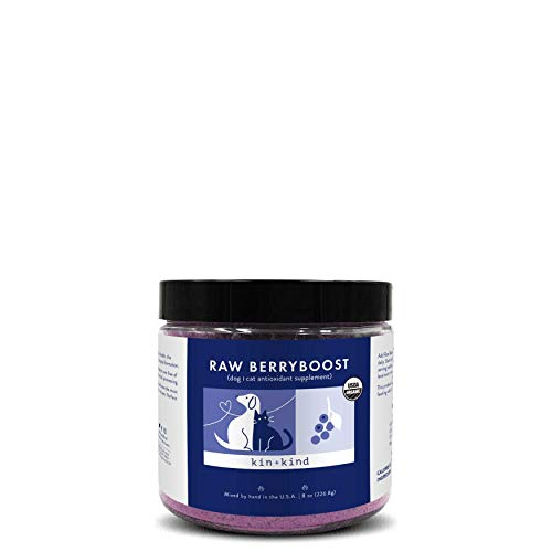 kin+kind Organic Raw BerryBoost Antioxidant Pet Supplement (8 oz) - Urinary Tract Support for Dogs and Cats - Safe, Natural Formula with Blueberry, Cranberry and Coconut - Mixed in The USA