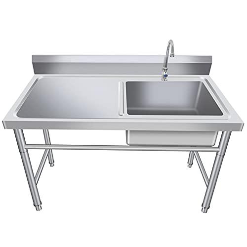 ZHIQ Fregadero de Acero Inoxidable para Cocina Comercial con Grifo y Mesa de Trabajo - 1 Compartimento - para Lavandería de Cocina de Garaje (Sin Tubería de Entrada de Agua), 2 Tamaños