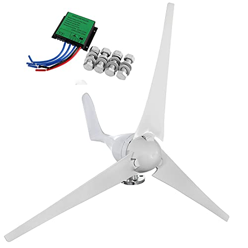 Dyna-Living Wind Turbine Generator Kit 400W DC 12V Wind Turbine Motor 3 Blades Wind Power Generator with Charge Controller for Home Marine Industrial Energy(Not Included mast)