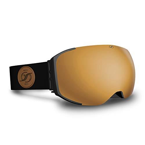 HYSTERESIS Freeride Magnet Gold Black - Gafas De Esquí con Lentes Magnéticas...