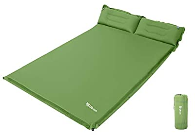 Ubon Double Self-Inflating Sleeping Pad Sleeping Mat for Camping with Pillows Attached Camp Sleep Pad for Backpacking Hiking Air Mattress Lightweight Inflatable & Compact, Green