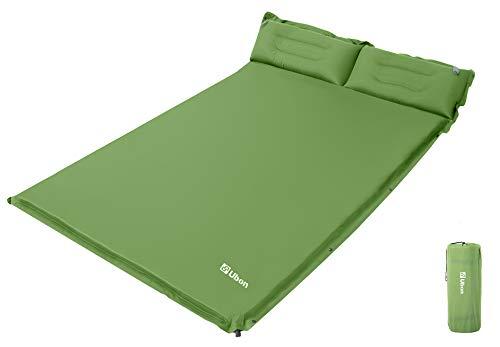 Ubon Colchón de Aire Dormir Camping Ligero Autohinchable Portátil Cómoda para 2 Personas 1.5 '' Almohada Ergonómica Relleno de Esponja Cama de Camping Pasto Verde 190 * 130 * 3.8