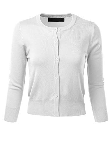 FLORIA Women's Crew Neck Button Down 3/4 Sleeve Stretchy Knit Cardigan Sweater White S